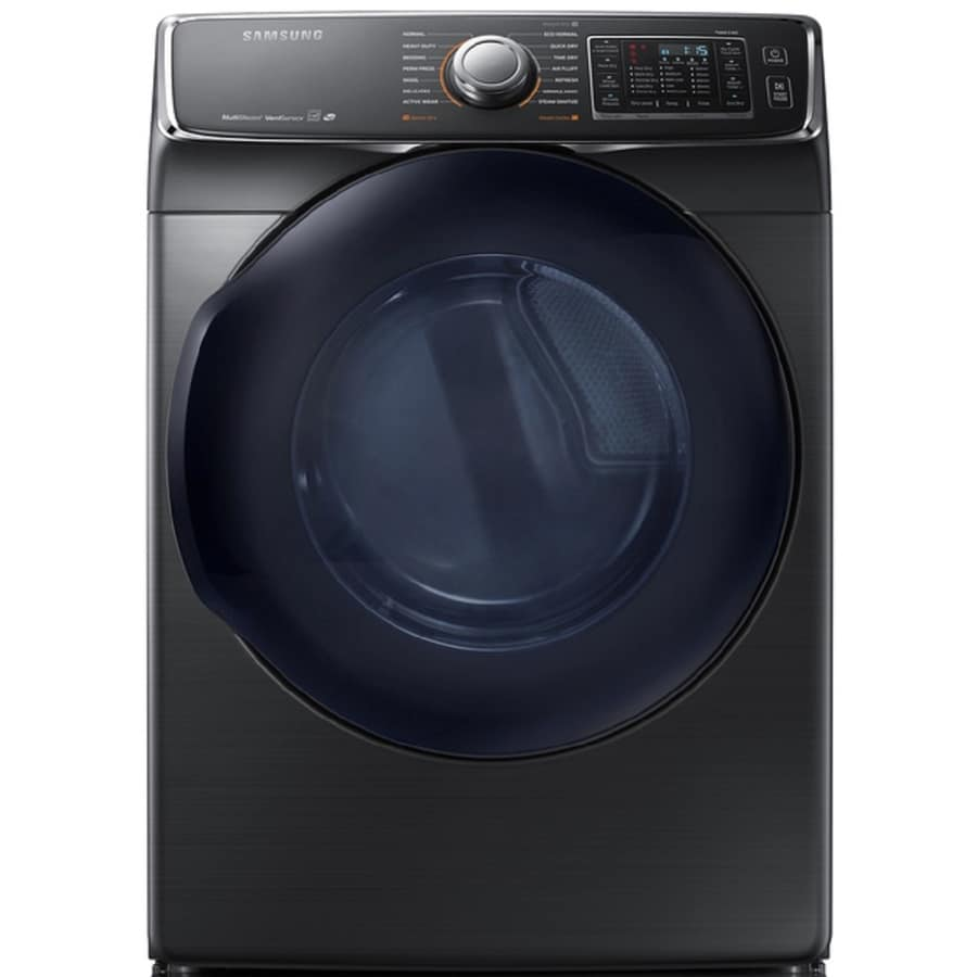 Samsung 7.5-cu ft Stackable Electric Dryer with Steam Cycle (Black Stainless Steel) ENERGY STAR