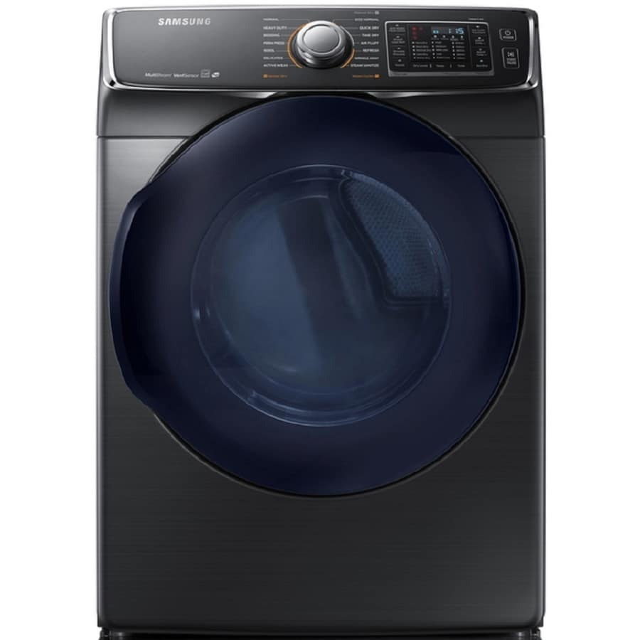 Samsung 7.5-cu ft Stackable Electric Dryer with Steam Cycles (Black Stainless Steel) ENERGY STAR
