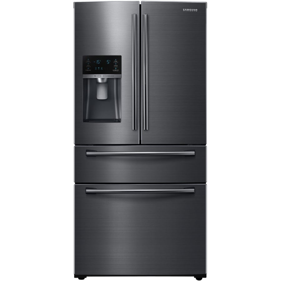 Samsung FlexZone 24.73-cu ft 4-Door French Door Refrigerator with Single Ice Maker (Black Stainless Steel) ENERGY STAR