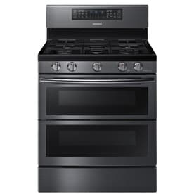 Samsung 5-Burner 3.4-cu ft / 2.3-cu ft Self-Cleaning Double Oven Convection Gas Range (Fingerprint-Resistant Black Stainless Steel) (Common: 30-in; Actual 29.9375-in)