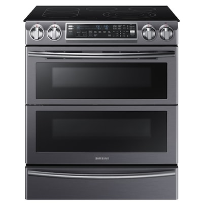 Flex Duo Smooth Surface 5 Element 3 Cu Ft 2 4 Self Cleaning Double Oven Convection Electric Range Fingerprint Resisant Black