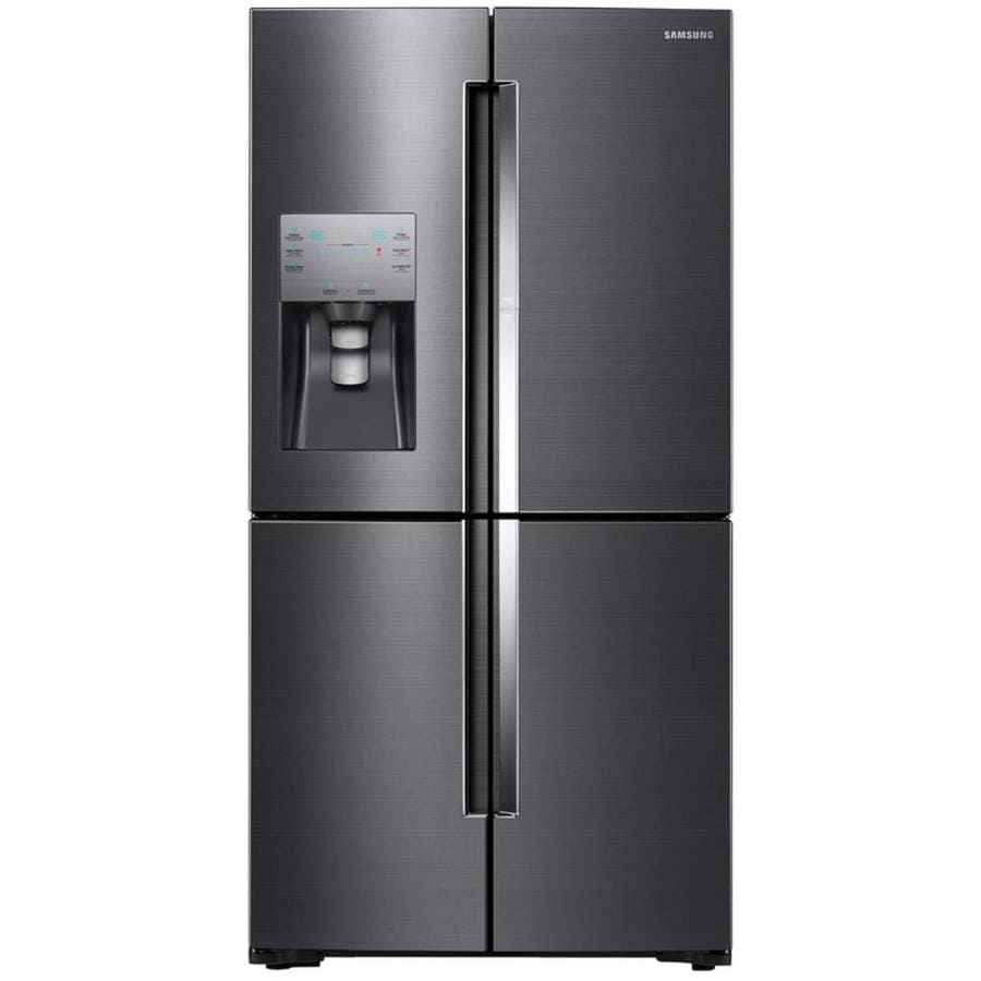 Samsung 4-Door Flex with Food Showcase 22.1-cu ft 4-Door Counter-Depth French Door Refrigerator with Single Ice Maker and Door within Door (Black stainless steel) ENERGY STAR