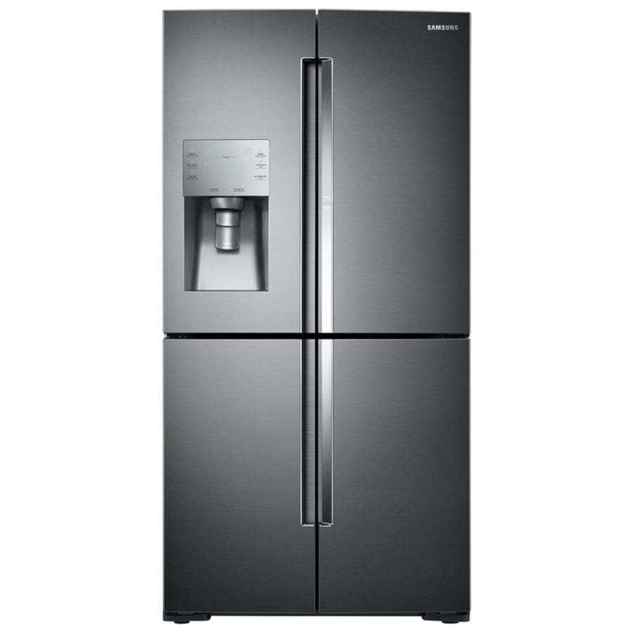 Samsung 4-Door Flex with Food Showcase 27.8-cu ft 4-Door French Door Refrigerator with Ice Maker and Door within Door (Black stainless steel) ENERGY STAR