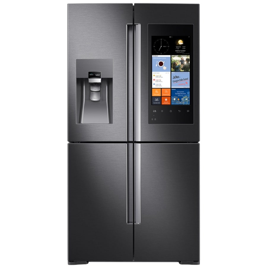 Samsung Family Hub 27.9-cu ft 4-Door French Door Refrigerator with Single Ice Maker (Black Stainless Steel)