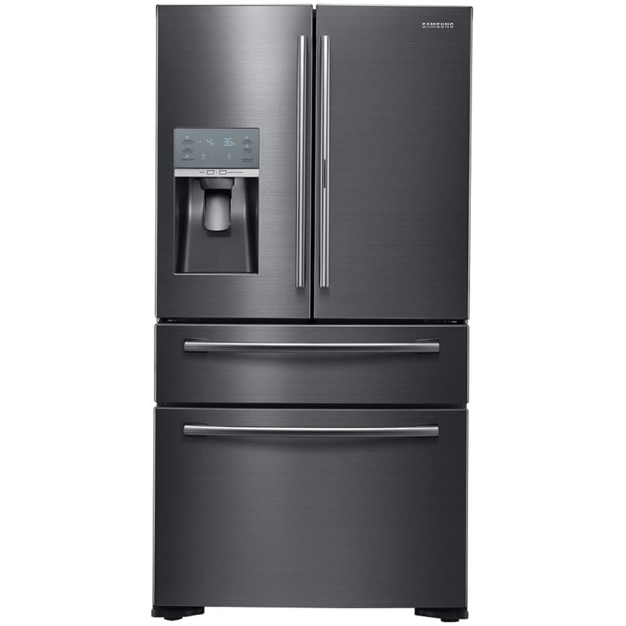 Samsung Food Showcase 22.4-cu ft 4-Door Counter-Depth French Door Refrigerator with Ice Maker and Door within Door (Black Stainless Steel) ENERGY STAR