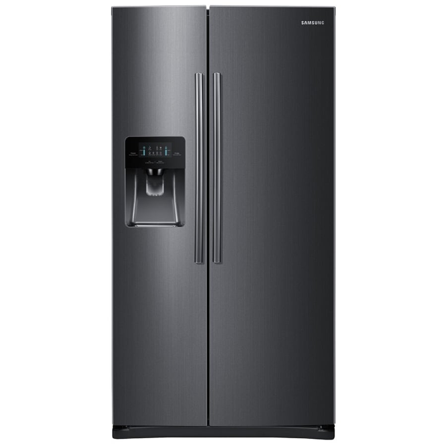 Samsung 24.5-cu ft Side-by-Side Refrigerator with Single Ice Maker (Black Stainless Steel) ENERGY STAR
