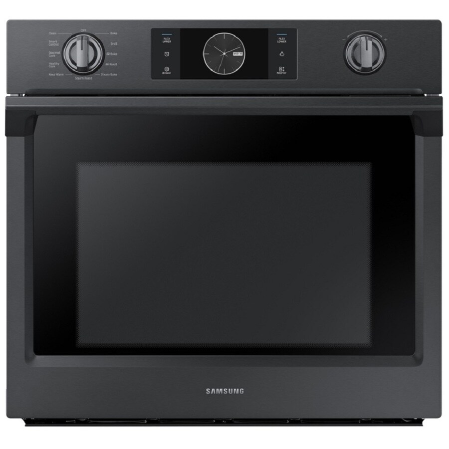 Samsung Steam Cook Self-cleaning Convection Single Electric Wall Oven (Black Stainless Steel) (Common: 30-in; Actual 28-in)