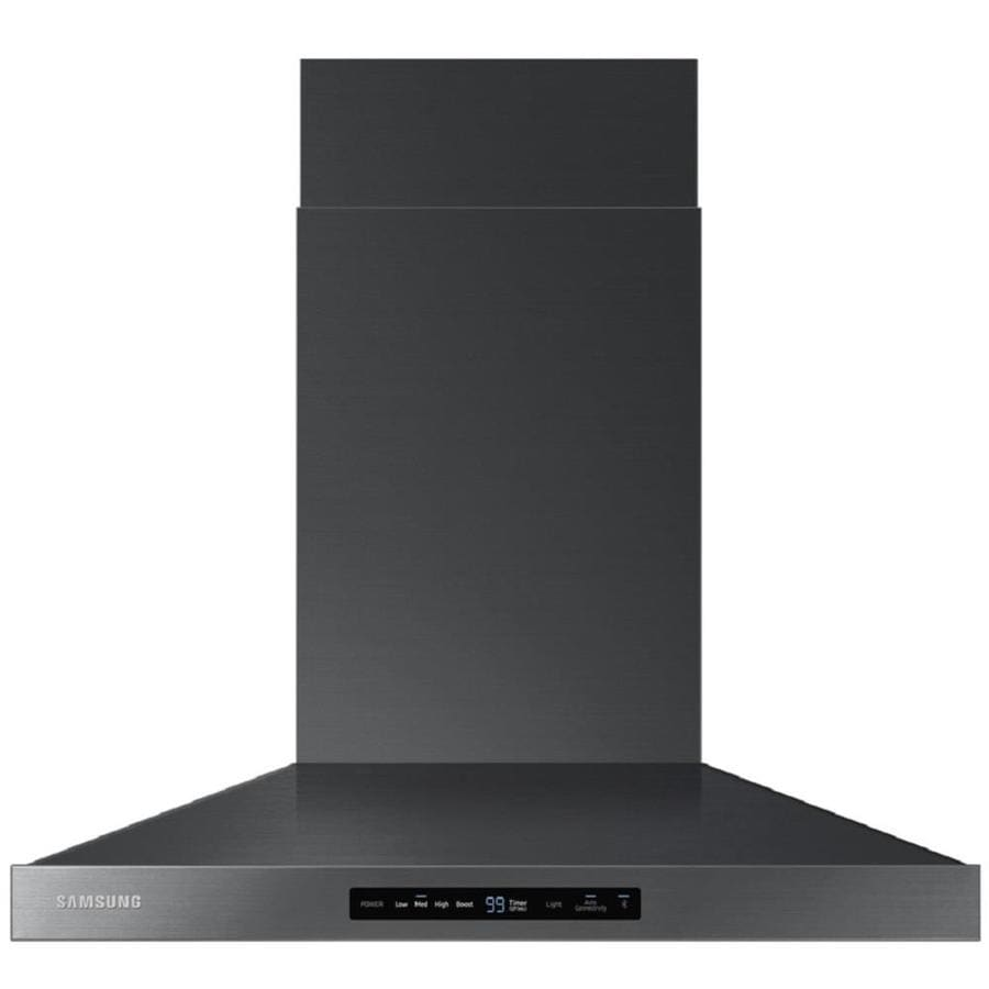 Black Chimney Style Range Hoods ~ Shop samsung ducted wall mounted range hood black