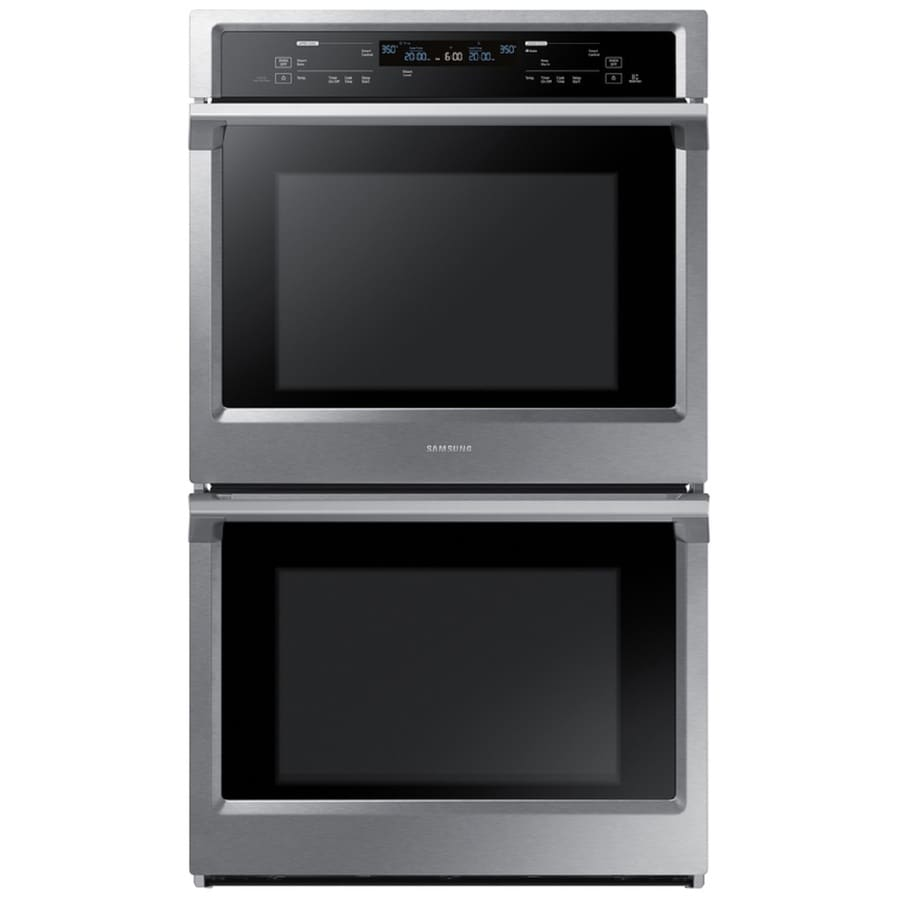 Samsung Steam Cook Convection Multi-Fan European Element Double Electric Wall Oven (Stainless Steel) (Common: 30-in; Actual: 28.75-in)