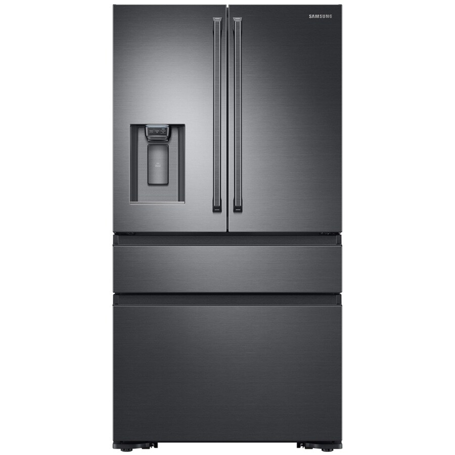 Samsung 22.7-cu ft 4-Door Counter-Depth French Door Refrigerator with Single Ice Maker (Black Stainless Steel) ENERGY STAR