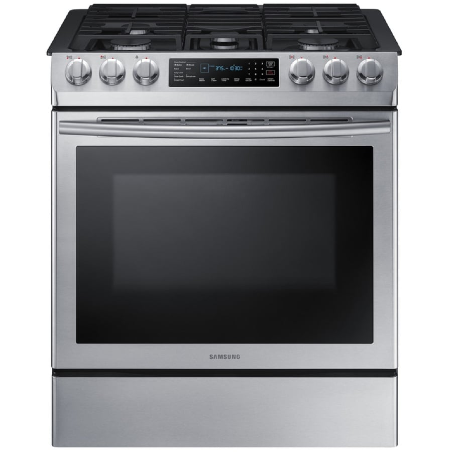 Samsung 5-Burner 5.8-cu ft Self-cleaning Slide-In Convection Gas Range (Stainless steel) (Common: 30-in; Actual 31-in)