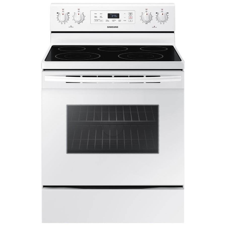Samsung Smooth Surface Freestanding 5-Element 5.9-cu ft Self-Cleaning Electric Range (White) (Common: 30-in; Actual: 29.875-in)