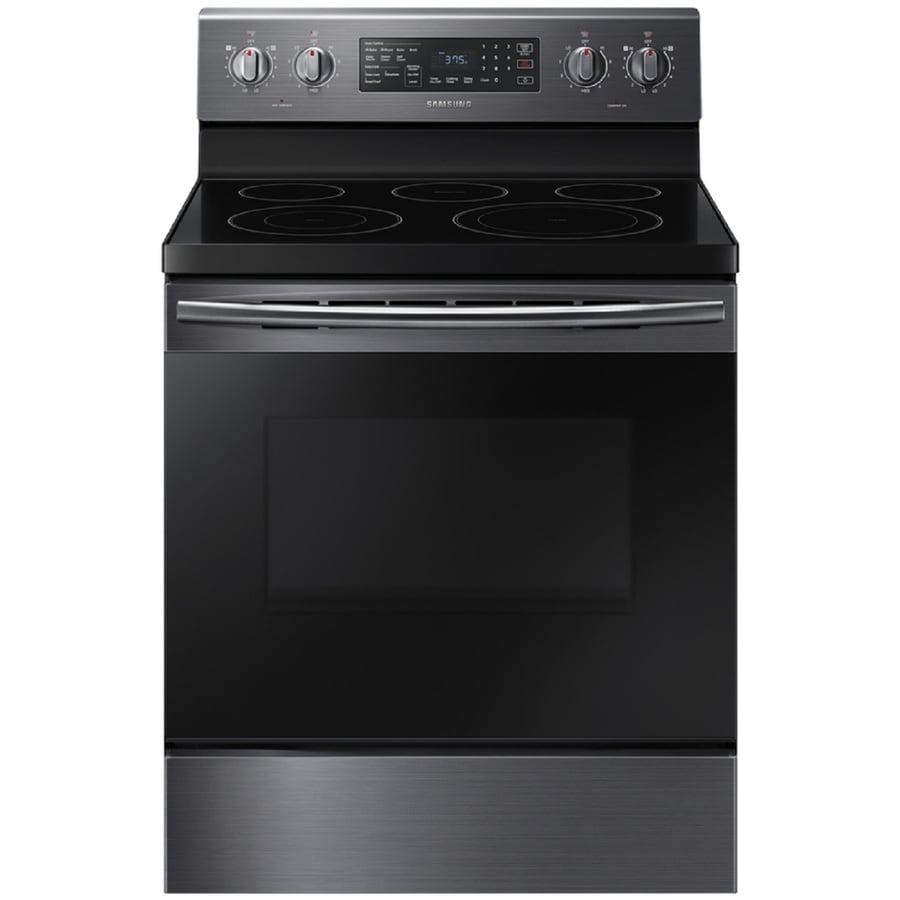 Samsung Smooth Surface Freestanding 5-Element 5.9-cu ft Self-Cleaning Convection Electric Range (Black stainless steel) (Common: 30-in; Actual: 29.875-in)