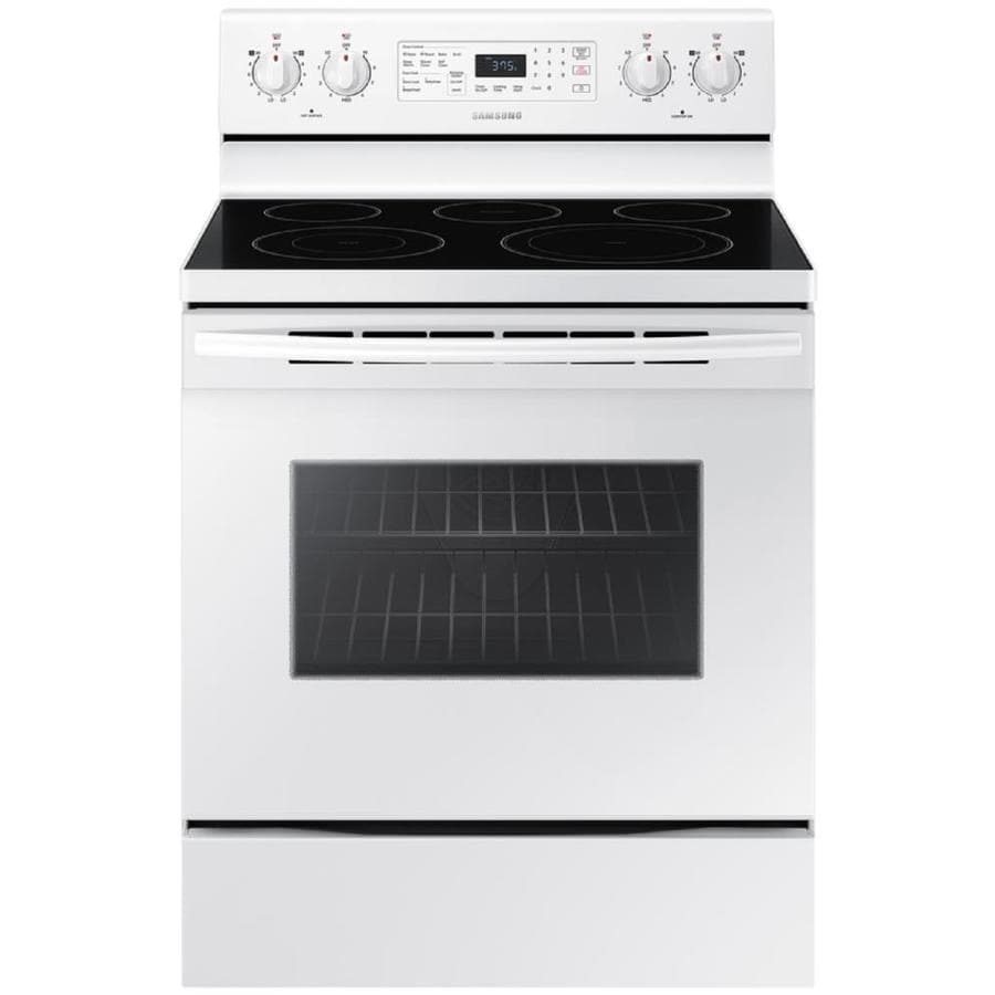 Samsung Smooth Surface Freestanding 5-Element 5.9-cu ft Self-Cleaning Convection Electric Range (White) (Common: 30-in; Actual: 29.875-in)