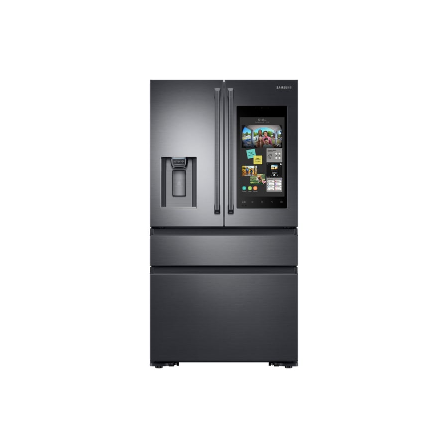 Samsung Family Hub 22.2-cu ft 4-Door Counter-Depth French Door Refrigerator with Single Ice Maker (Black stainless steel) ENERGY STAR