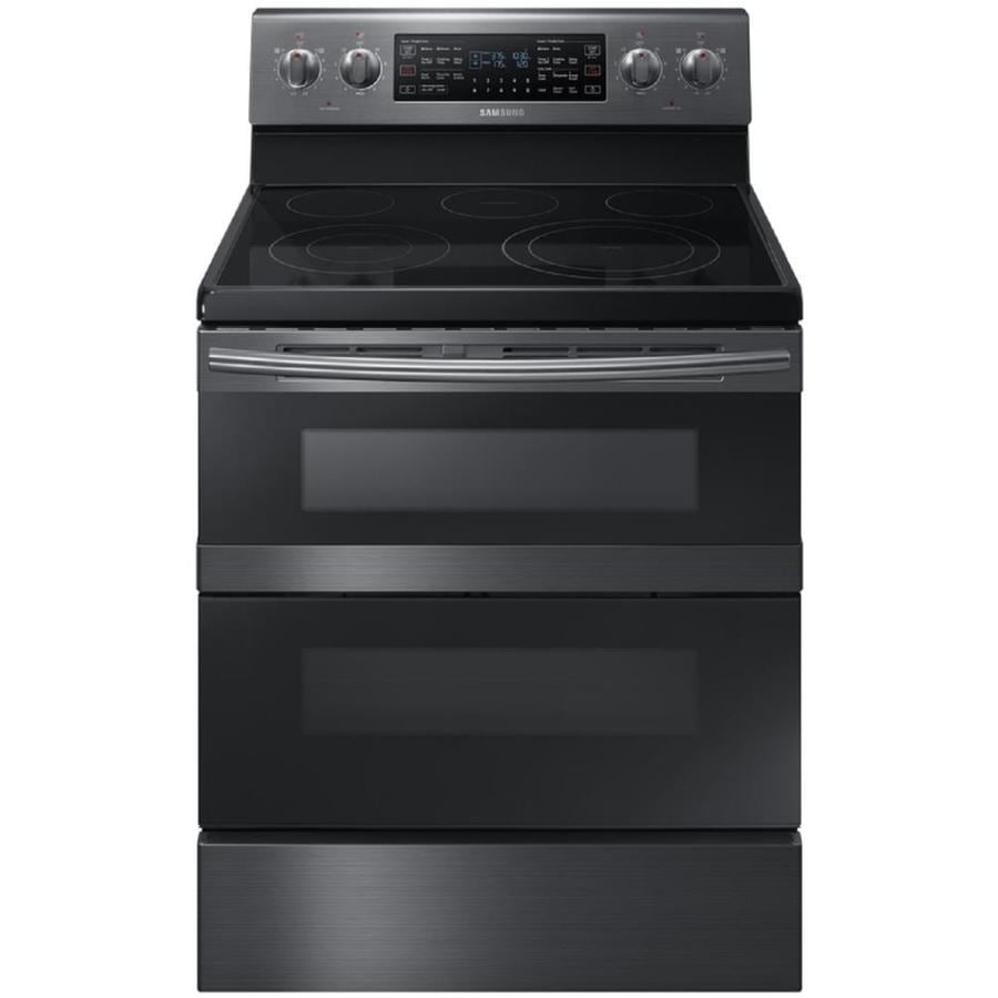 Samsung Flex Duo with Dual Door Smooth Surface Freestanding 5-Element 5.9-cu ft Self-Cleaning Convection Electric Range (Black stainless steel) (Common: 30-in; Actual: 29.875-in)