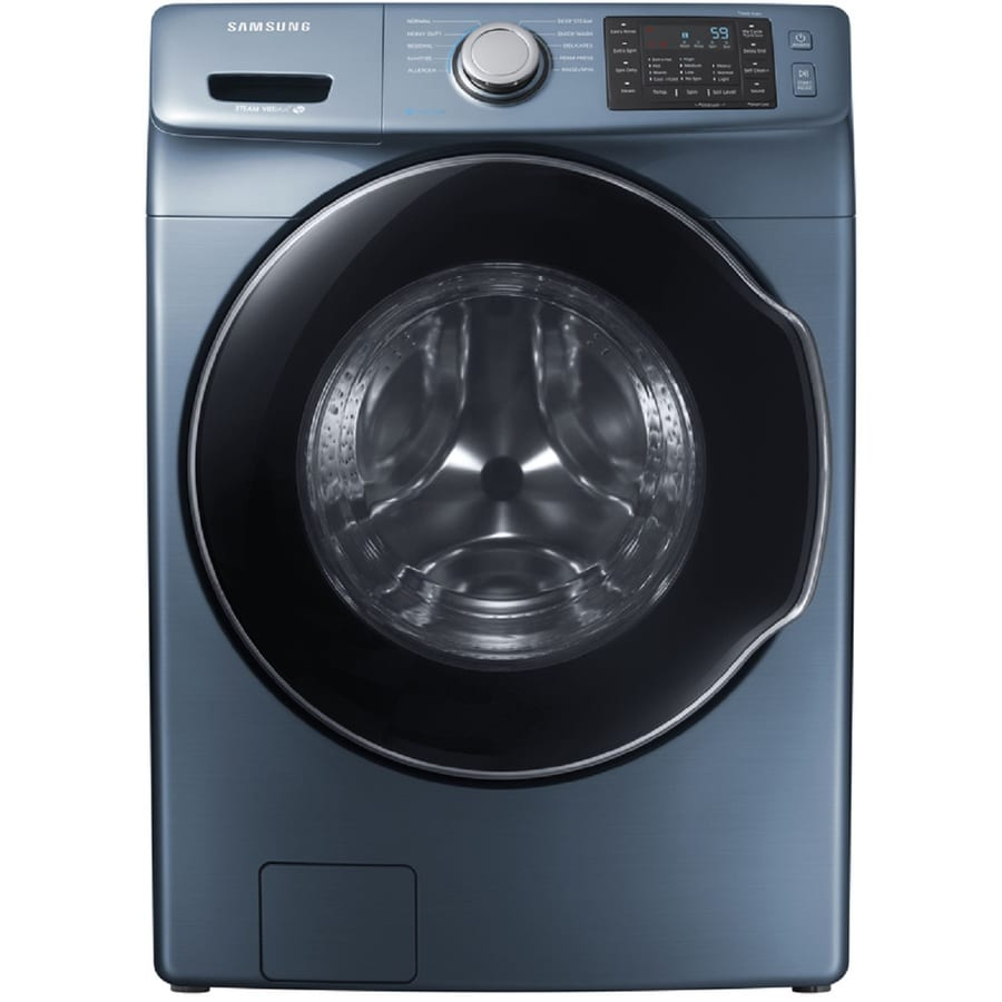 samsung 45cu ft stackable frontload washer azure blue