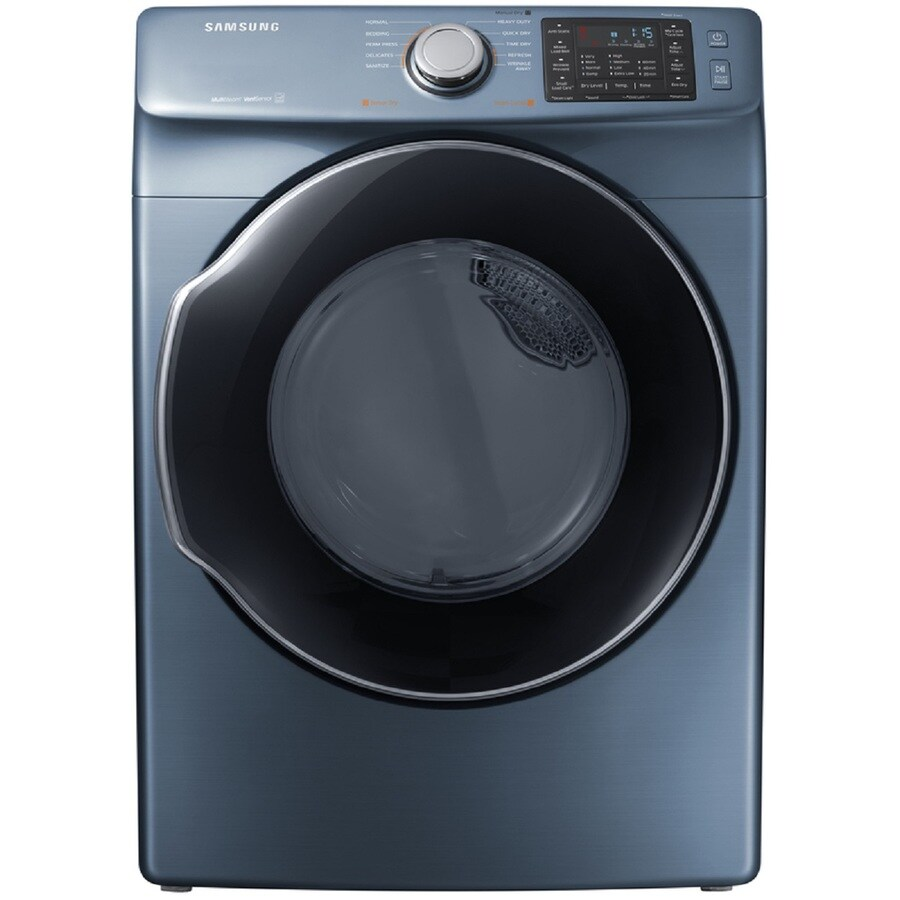 Shop Samsung 7 5 Cu Ft Stackable Gas Dryer Azure Blue
