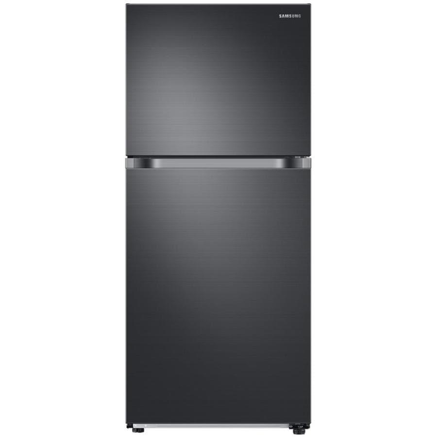 Samsung 17 6 Cu Ft Top Freezer Refrigerator Fingerprint Resistant Black Stainless Steel Energy Star