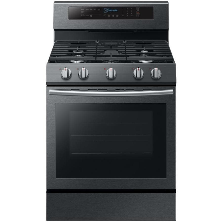 Samsung True Convection 5-Burner Freestanding 5.8-cu ft Self-cleaning Convection Gas Range (Black Stainless Steel) (Common: 30-in; Actual: 29.9375-in)