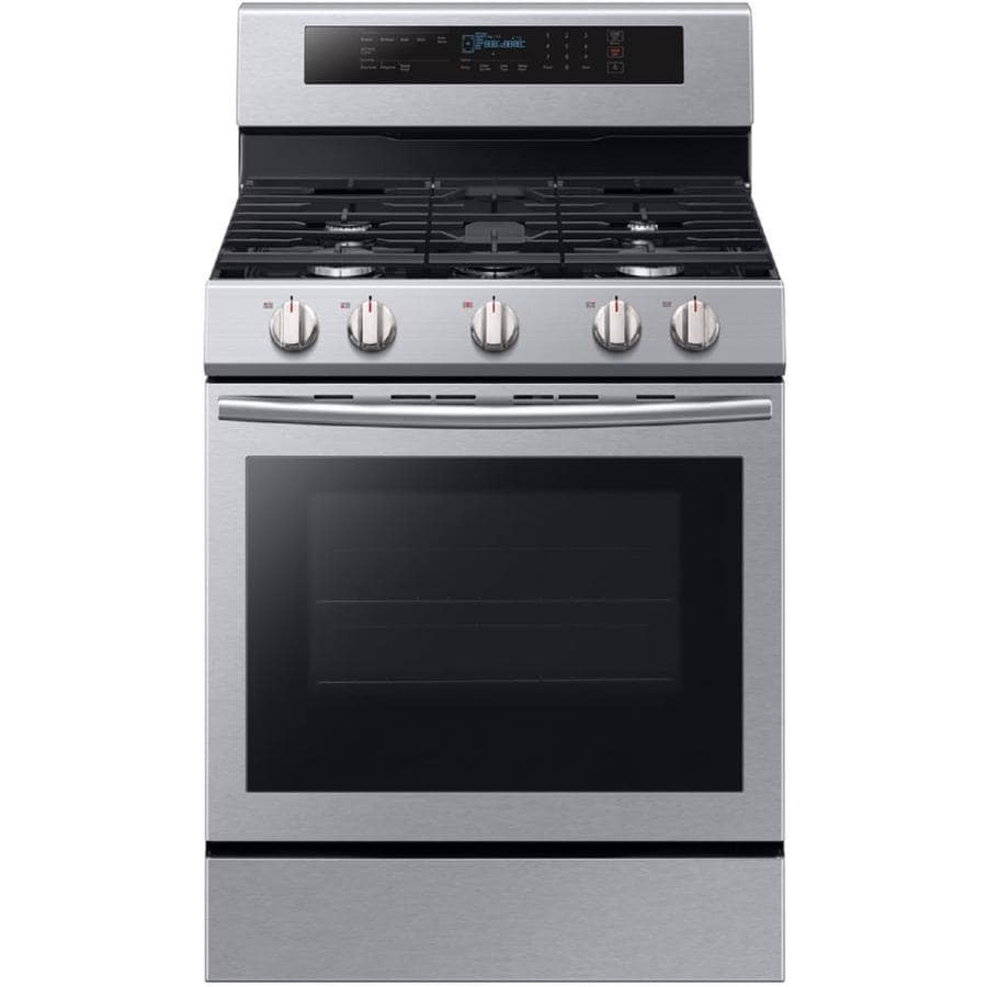 Samsung True Convection 5-Burner Freestanding 5.8-cu ft Self-cleaning Convection Gas Range (Stainless Steel) (Common: 30-in; Actual: 29.9375-in)