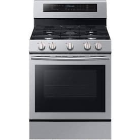Samsung True Convection 5-Burner 5.8-cu ft Self-cleaning True Convection Freestanding Gas Range (Stainless Steel) (Common: 30-in;Actual: 29.9375-in)