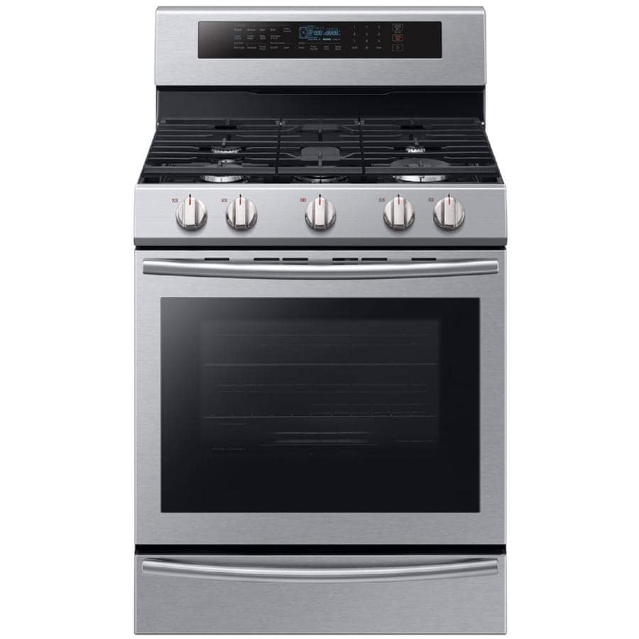 Samsung 5-Burner Freestanding 5.8-cu ft Self-cleaning True Convection Gas Range (Stainless Steel) (Common: 30-in; Actual: 29.9375-in)