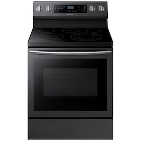 Samsung True Convection Smooth Surface 5 Elements 5.9-cu ft Self-Cleaning True Convection Freestanding Electric Range (Fingerprint-Resistant Black Stainless Steel) (Common: 30-in; Actual: 29.875-in)
