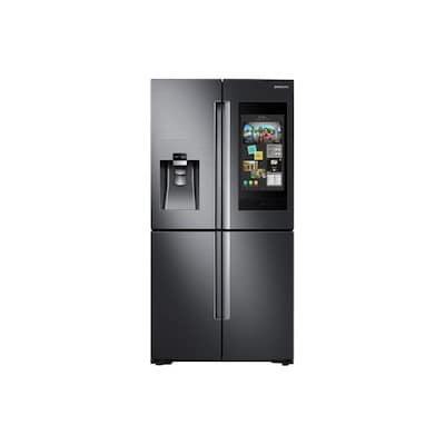 Samsung Family Hub Wi-Fi Enabled Family Hub 22-cu ft 4-Door Counter-Depth French Door Refrigerator with Ice Maker (Fingerprint-Resistant Black Stainless Steel) ENERGY STAR