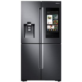 Samsung 27.9 cu. ft. Family Hub 4-Door French Door Smart Refrigerator in Fingerprint Resistant Black Stainless