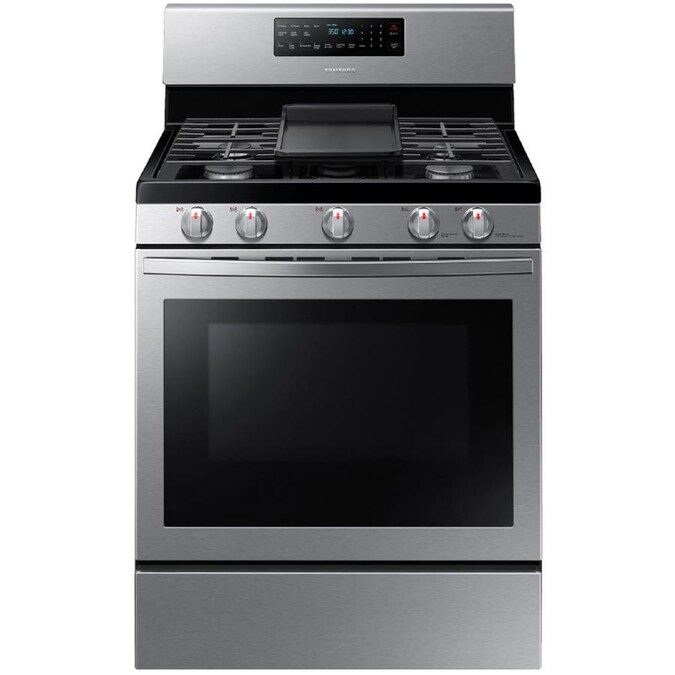Samsung 5 Burners 5.8-cu ft Self-cleaning Convection Freestanding Gas Range (Stainless Steel) (Common: 30-in; Actual: 29.9375-in)