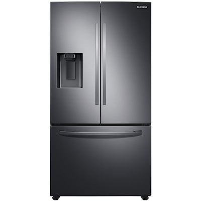 Samsung 27-cu ft French Door Refrigerator with Dual Ice Maker (Fingerprint-Resistant Black Stainless Steel) ENERGY STAR
