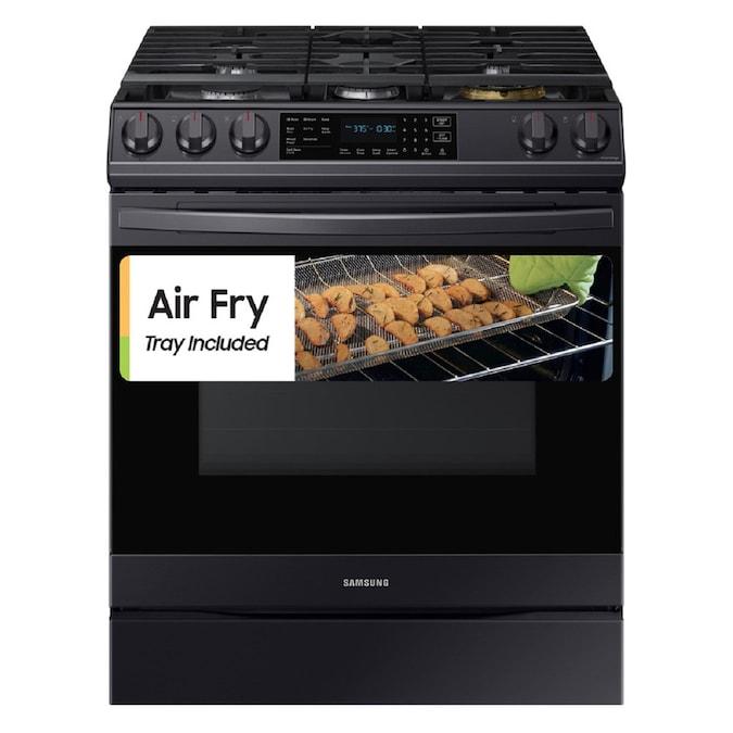 Samsung 30-in 5 Burners 6-cu ft Self-Cleaning Air Fry Convection Oven Slide-In Gas Range (Fingerprint Resistant Black Stainless Steel)