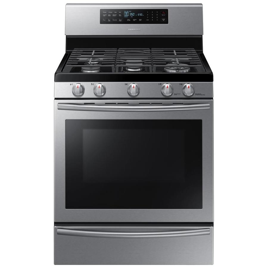 Samsung 5-Burner Freestanding 5.8-cu ft Self-cleaning Convection Gas Range (Stainless steel) (Common: 30-in; Actual: 29.8125-in)