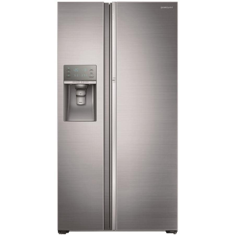 Samsung Food Showcase 21.5-cu ft Counter-Depth Side-by-Side Refrigerator with Ice Maker (Stainless Steel) ENERGY STAR
