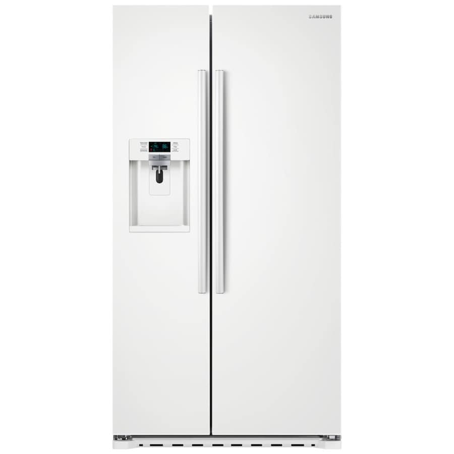 Samsung 22.3-cu ft Counter-Depth Side-by-Side Refrigerator with Single Ice Maker (White) ENERGY STAR