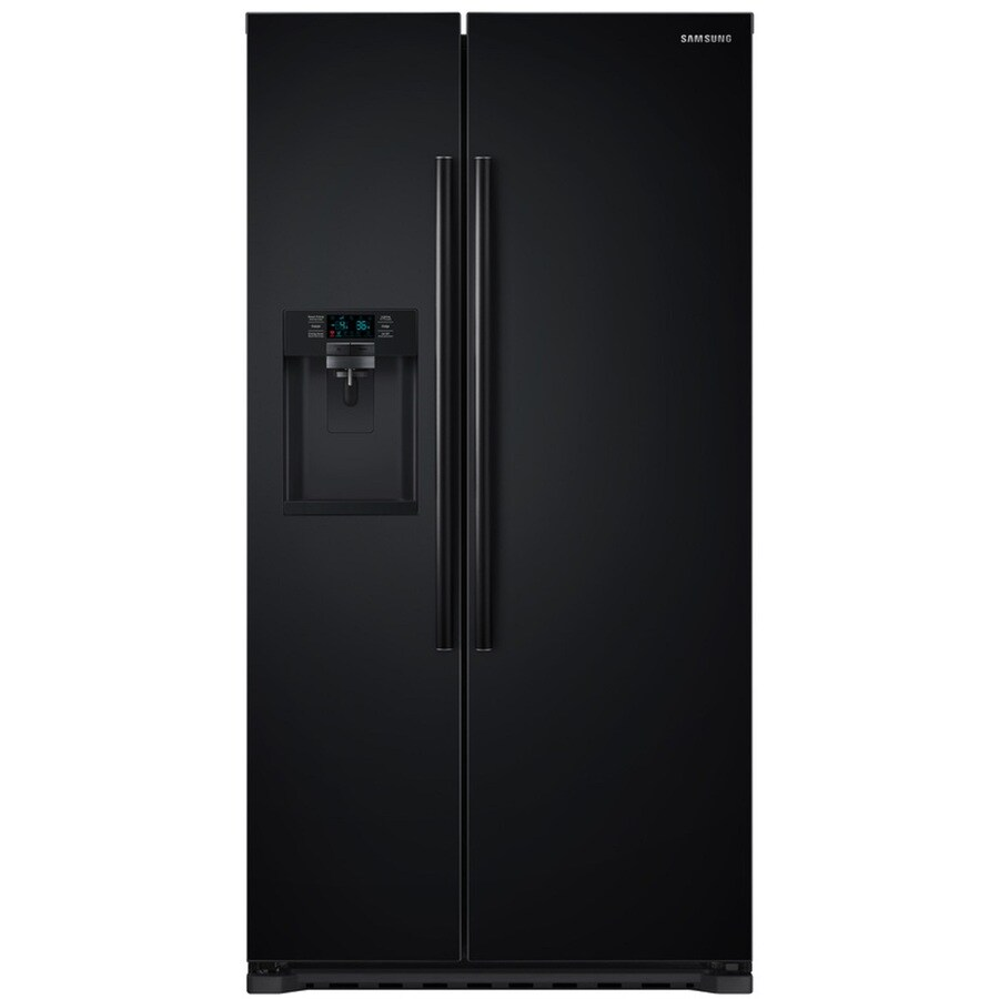 Samsung 22.3-cu ft Counter-Depth Side-by-Side Refrigerator with Single Ice Maker (Black) ENERGY STAR