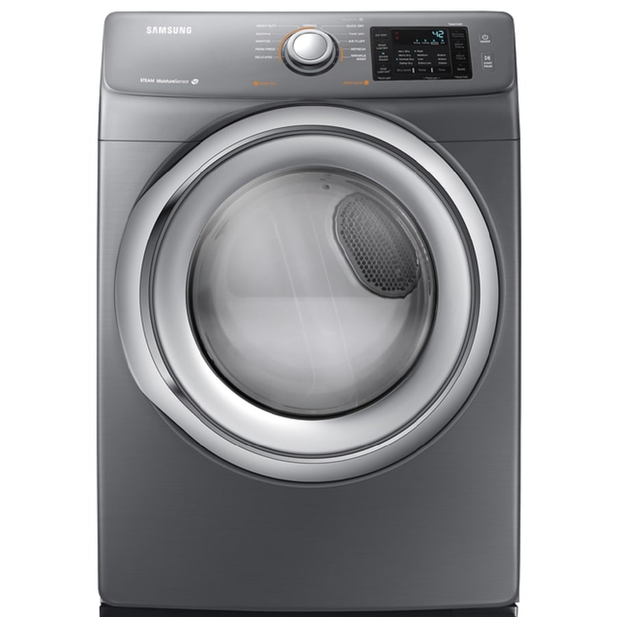 Samsung 7.5-cu ft Stackable Electric Dryer with Steam Cycle (Platinum)