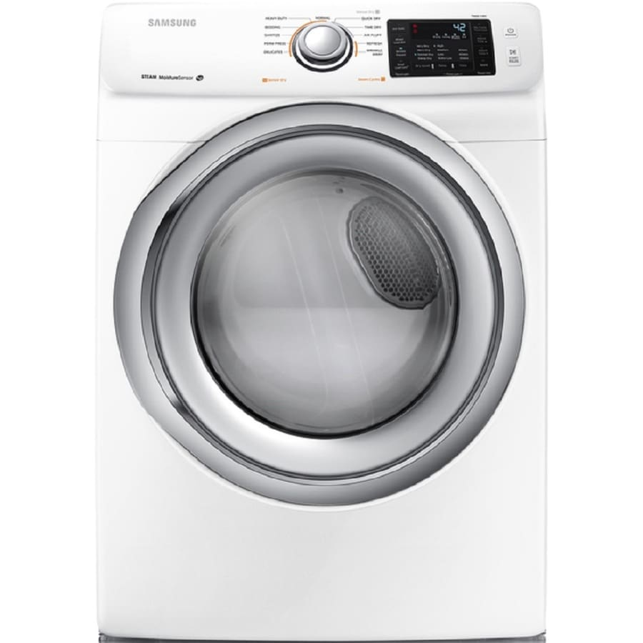 Samsung 7.5-cu ft Stackable Electric Dryer with Steam Cycle (White)
