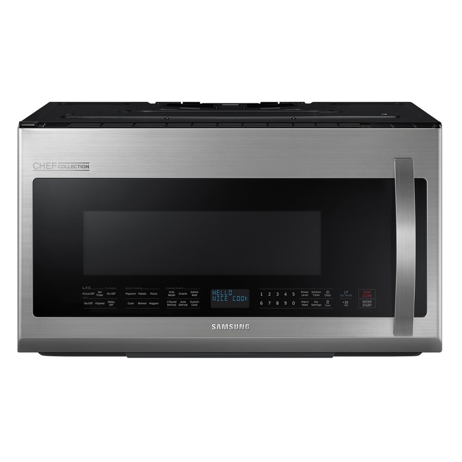 Samsung Chef Collection 2.1-cu ft Over-The-Range Microwave with Sensor Cooking Controls (Stainless Steel) (Common: 30-in; Actual: 29.81-in)