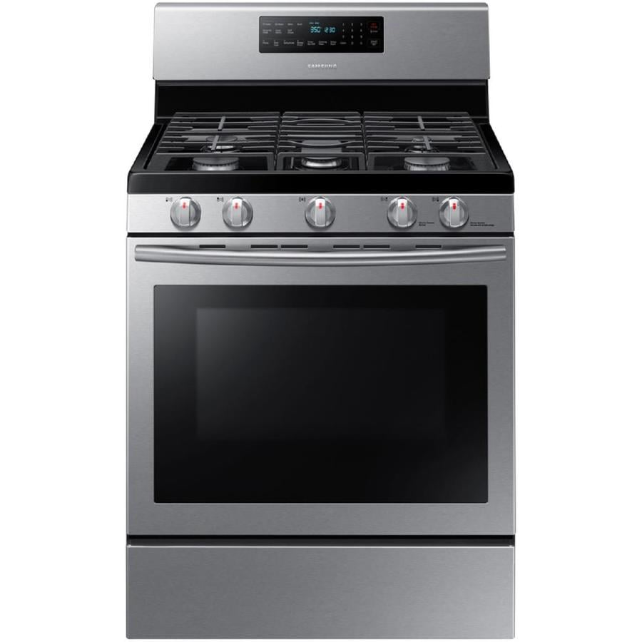 Samsung 5-Burner Freestanding 5.8-cu ft Self-cleaning Convection Gas Range (Stainless steel) (Common: 30-in; Actual: 29.75-in)