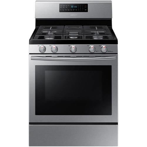Samsung 5 Burners 5.8-cu ft Self-Cleaning Convection Freestanding Gas Range  (Stainless Steel) (Common: 30-in; Actual: 29.75-in) at Lowes.com