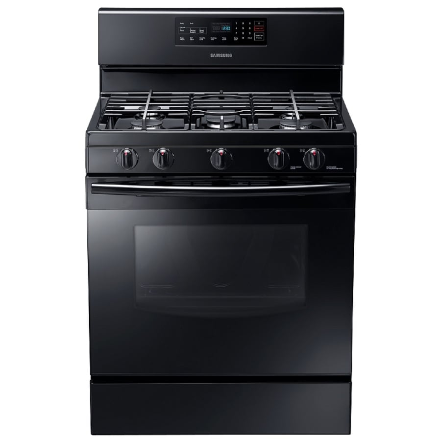 Samsung 5-Burner Freestanding 5.8-cu ft Self-cleaning Gas Range (Black) (Common: 30-in; Actual: 29-in)