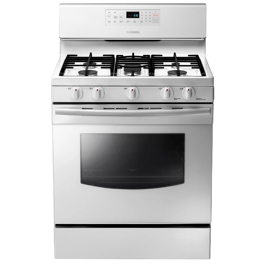 Samsung 5-Burner Freestanding 5.8-cu ft Self-Cleaning Gas Range (White) (Common: 30-in; Actual: 29-in)