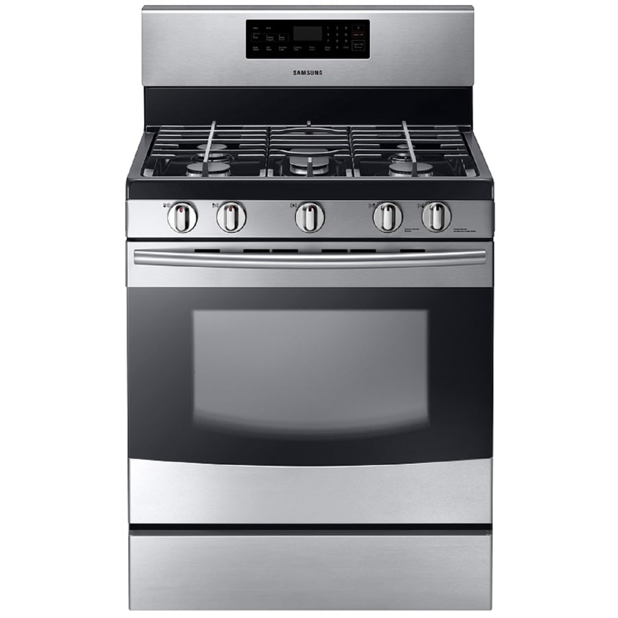 shop samsung 5 burner freestanding 5 8 cu ft self cleaning gas range stainless steel common. Black Bedroom Furniture Sets. Home Design Ideas