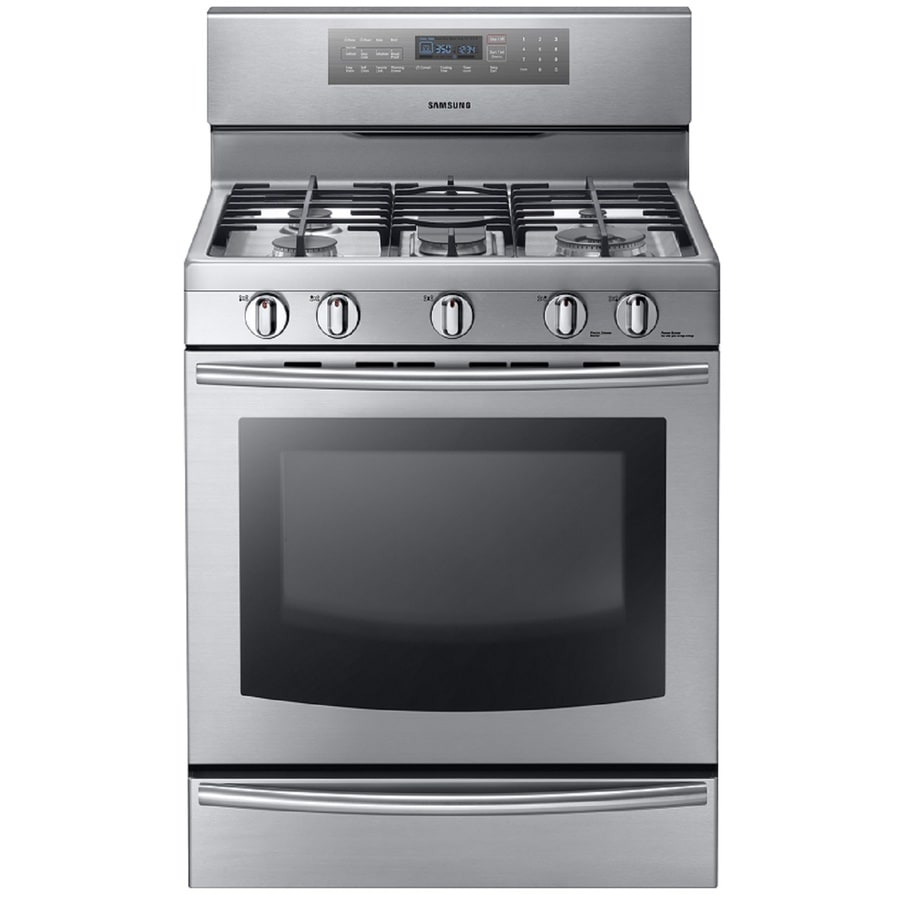 Samsung True Convection 5-Burner Freestanding 5.8-cu ft Self-cleaning Convection Gas Range (Stainless Steel) (Common: 30 Inch; Actual: 29.8125 Inches)