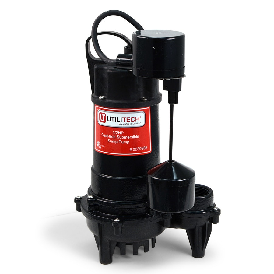 Utilitech 0 5 Hp Cast Iron Submersible Sump Pump