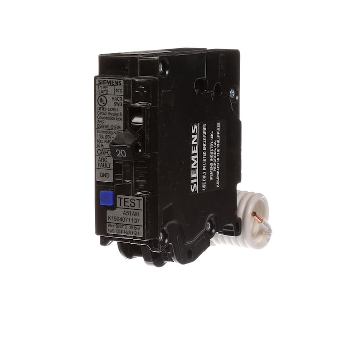 Siemens Qp 20 Amp 1 Pole Combination Arc Fault Circuit Breaker In The Circuit Breakers Department At Lowes Com