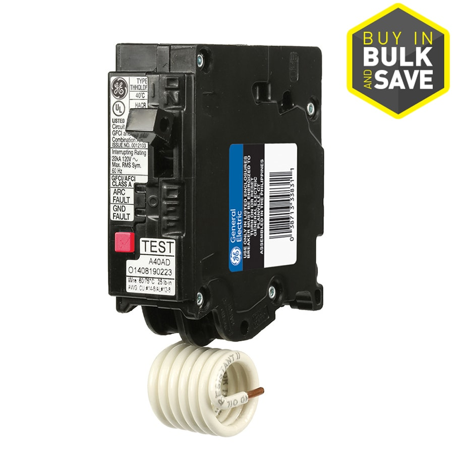shop circuit breakers load centers fuses at lowes com ge q line thql 20 amp 1 pole dual function afci gfci