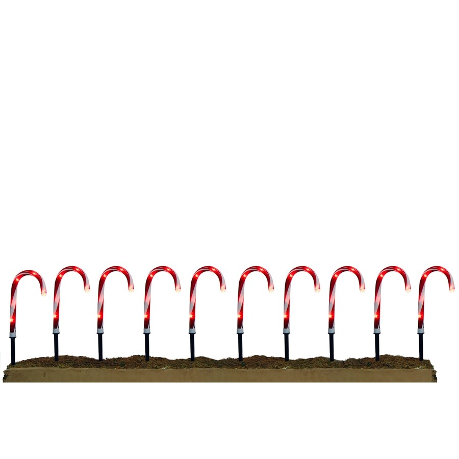 Holiday Living 10-Marker Clear Electrical Outlet Powered Candy Cane Christmas Pathway Markers
